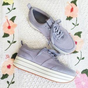 ZARA Lilac Purple High Platform Tie Sneakers 10